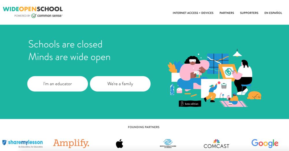 Wide Open School virtual summer camp homepage
