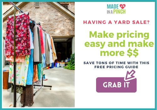 Get a free yard sale pricing guide emailed to you.