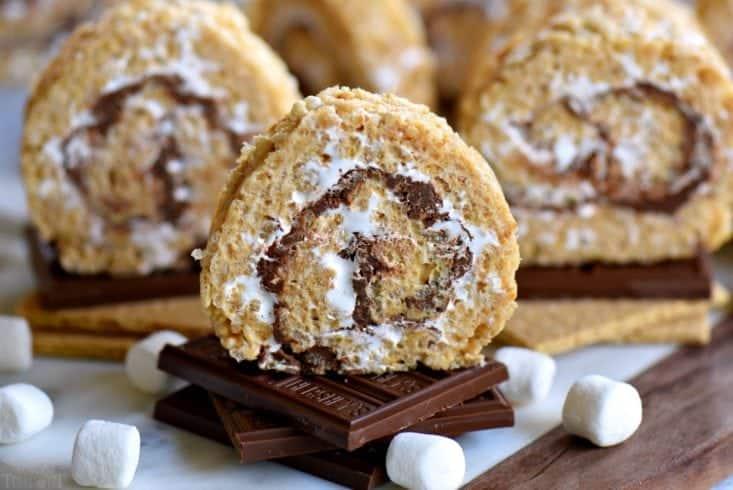 s'mores dessert variation as Rice Krispie pinwheels