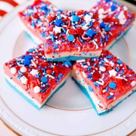 patriotic vanilla fudge on a plate