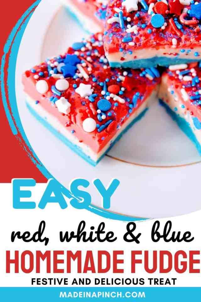 Easy Patriotic Vanilla Fudge Recipe pin image