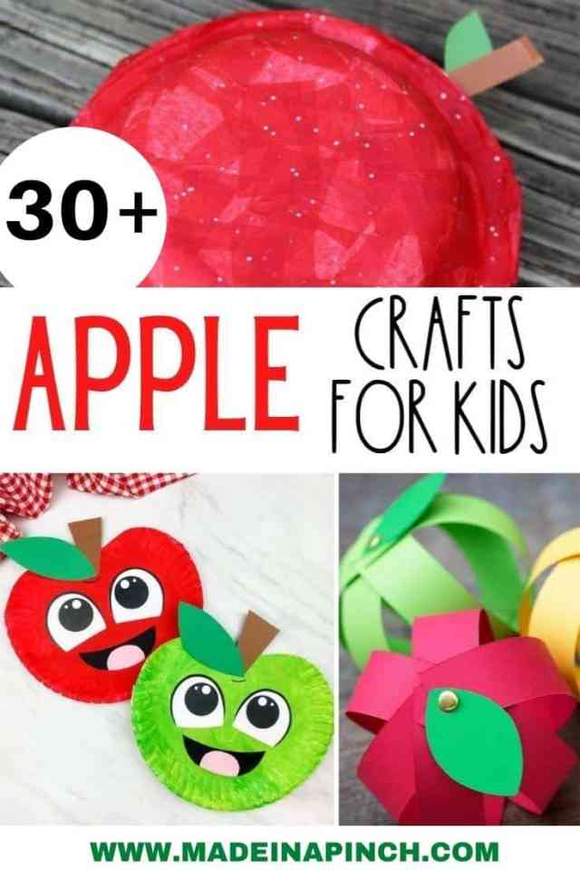 apple crafts for kids pin image
