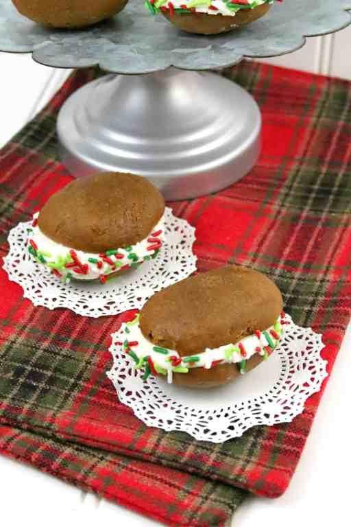 two gingerbread whoopie pies