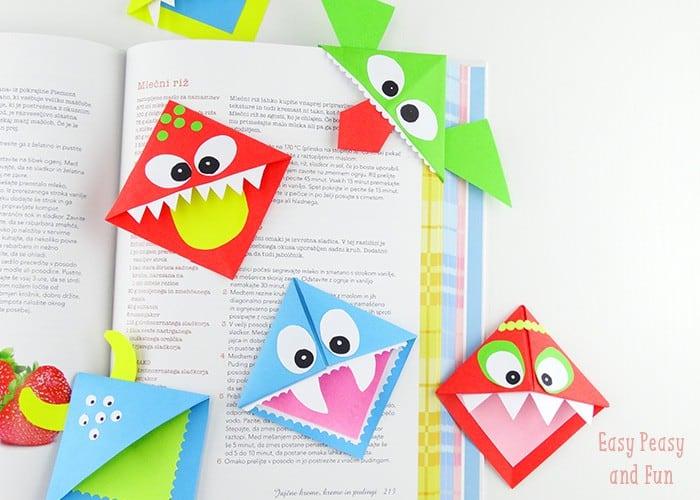 DIY corner bookmark monsters