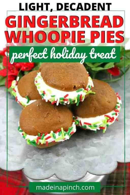 Gingerbread whoopie pies pin image
