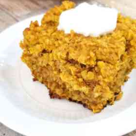 pumpkin baked oatmeal with a dollop of Greek yogurt