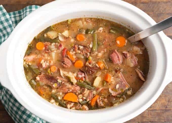 crock pot ham & vegetable barley soup