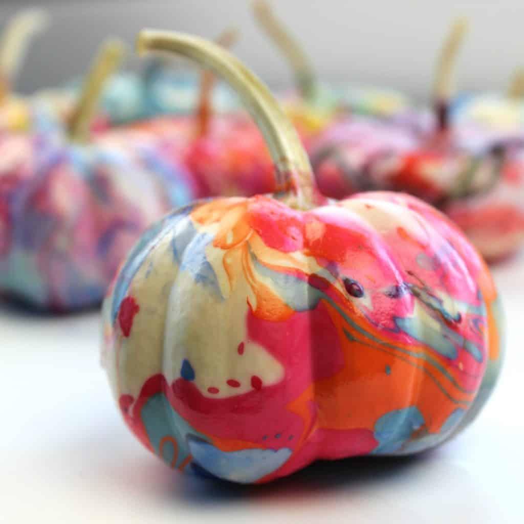 marbled pumpkin decorating ideas for kids