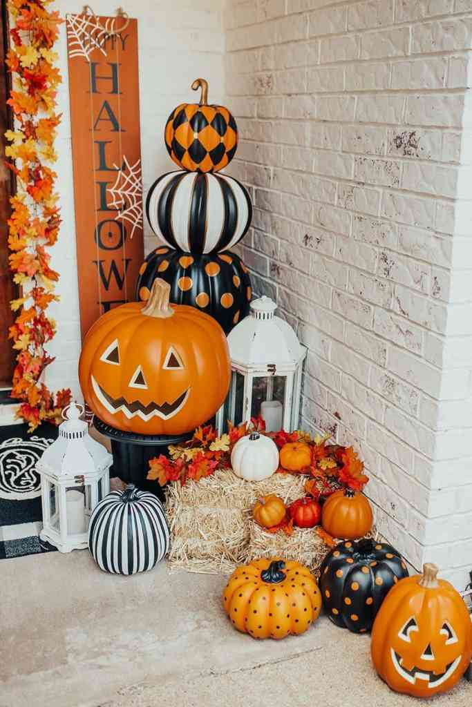 different patterns on painted pumpkins