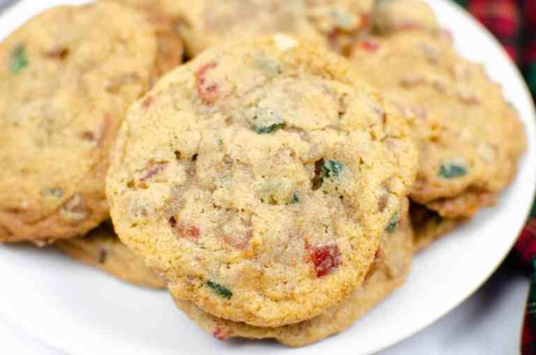 closeup of plate of fruitcake cookies