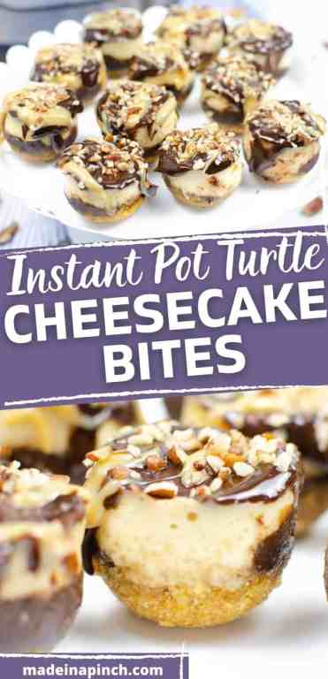 Instant pot turtle cheesecake bites