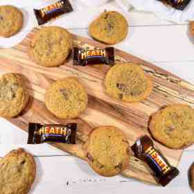 brown butter toffee cookies with Heath bars