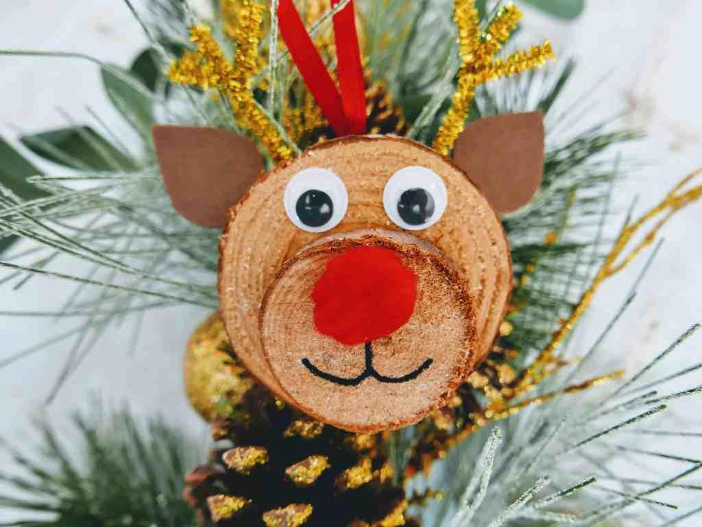 wood slice Rudolph ornament