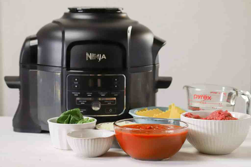 Instant pot lasagna soup recipe ingredients with a Ninja pressure cooker