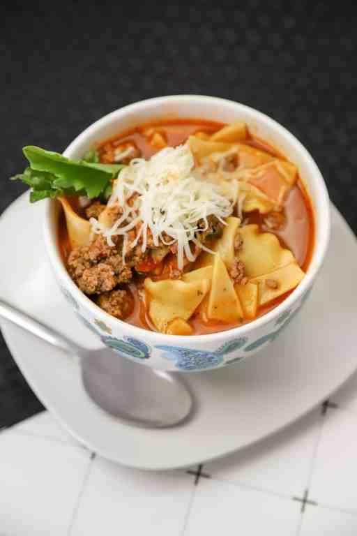 close up of lasagna soup