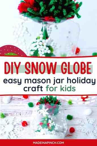 DIY mason jar snow globe pin image