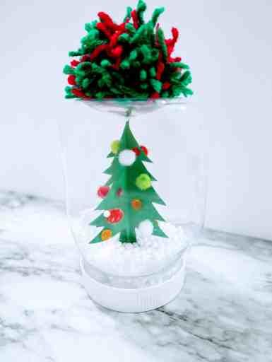 completed mason jar snow globe