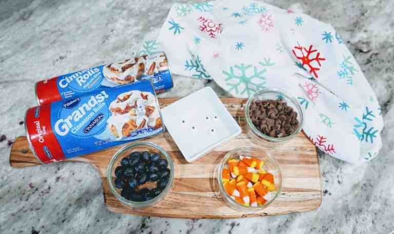 ingredients for snowman cinnamon rolls