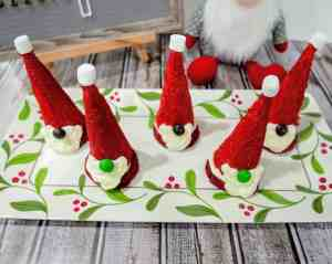 Santa gnome cookies on a tray