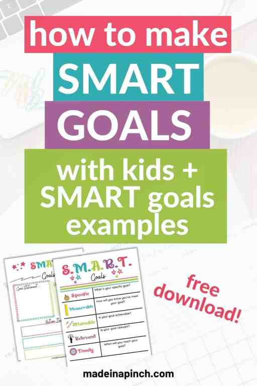 Smart goals examples pin image