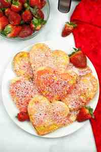 Air Fryer Valentine's Day pop tarts on plate from above