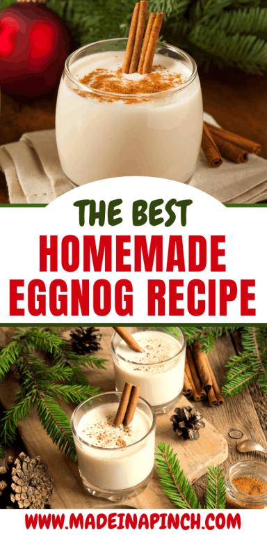 Homemade eggnog long pin image