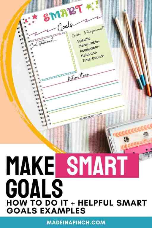 Smart goals worksheet pin image