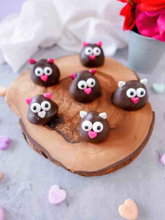 chocolate-covered strawberry lovebirds on a wood tray