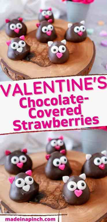 Valentine's chocolate-covered strawberries long pin image