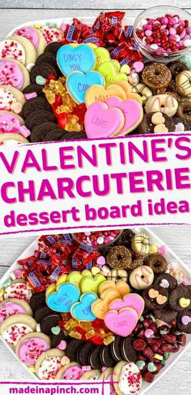 Valentine's Day dessert charcuterie board long pin