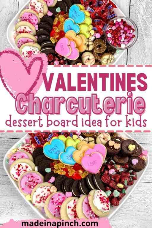 Valentine's Day dessert charcuterie board pin image