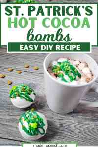 No matter how you celebrate, these St. Patrick's Day Hot Cocoa Bombs add a fun twist to your St. Patrick's Day celebrations! Why not make these adorable St. Patrick Hot Chocolate Bombs for the kids or to share? Drop one of these St. Patrick's Day hot chocolate bombs into a mug and pour hot milk over it. You'll get a fun surprise when the bomb explodes in your cup! #hotcocoabomb #hotchocolatebomb #stpatricksday | Made in A Pinch @madeinapinch