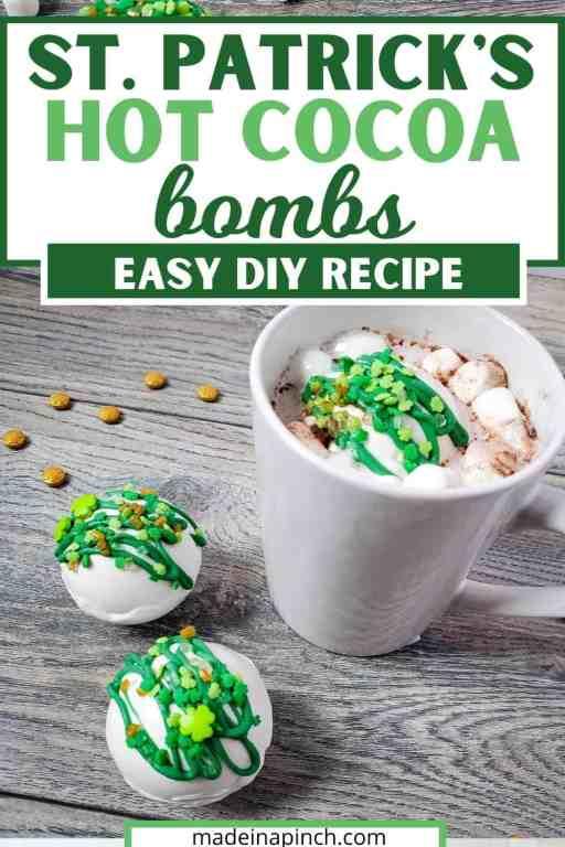 St. Patrick's Day hot cocoa bombs pin image