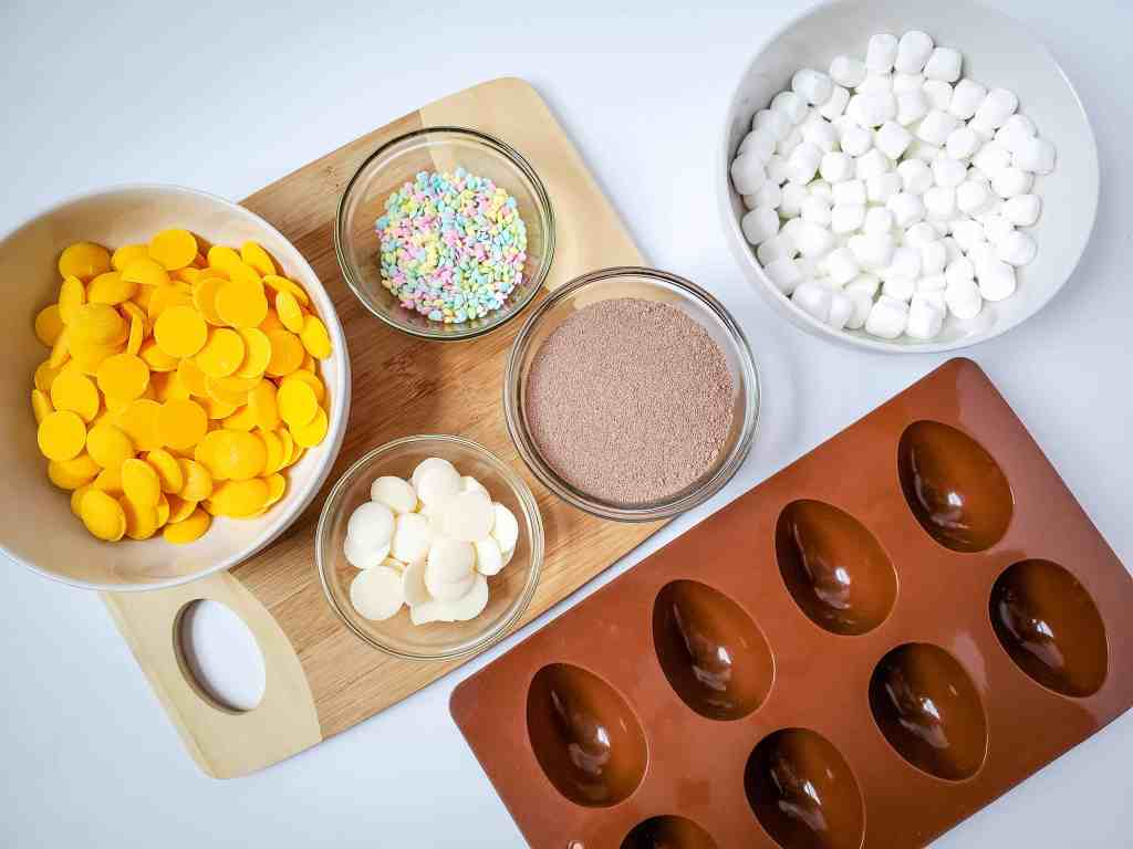 ingredients for Easter egg hot cocoa bombs