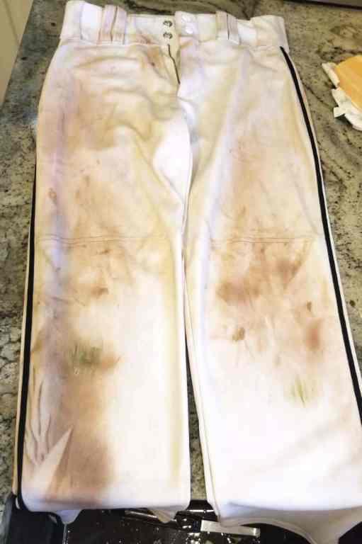 dirty pair of white baseball pants