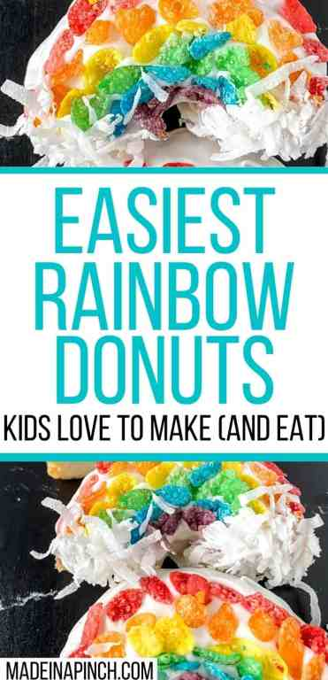 A deliciously fun and quick activity - and TREAT! These rainbow donuts are insanely quick to make, perfect for any day you want a little sunshine in your life or St. Patrick's Day, and a GREAT way to let kids work on their color sorting skills! Make these fun donuts with fruity pebbles, white frosting, and coconut! They are SO easy to make that you'll do it again and again to your kids' delight! Just click through to get the recipe 10-minute recipe. #stpatricksday #donuts #rainbowdonuts | Made in A Pinch @madeinapinch