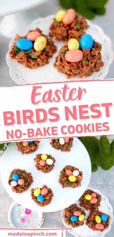 """data-pin-description=""""Chocolate and Peanut Butter Bird's Nest Cookies - a sweet Easter treat that is quick, easy, and FUN to make! These bird's nest treats have a twist from the typical way of making them and are kid-approved and lip-smackin' good!! These Easter Bird's Nest cookies are a traditional Easter recipe with a fun new twist. Plus they're SO CUTE! #Easter #birdsnest #nobake #cookies #dessert #treats #holidays 