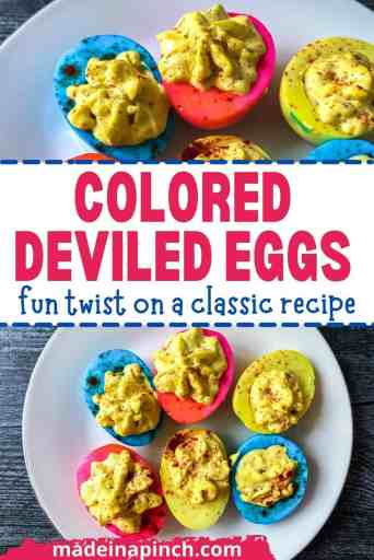 colored deviled eggs pin image