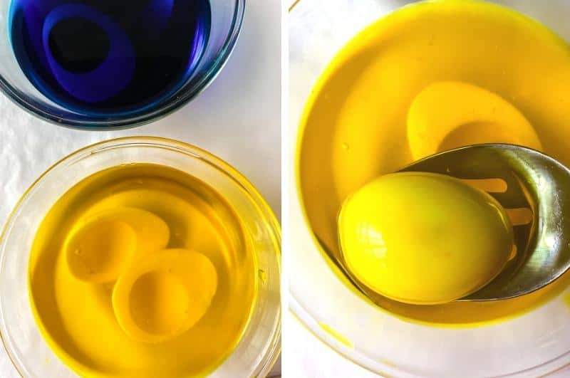 image collage of dyeing the egg whites for colored deviled eggs