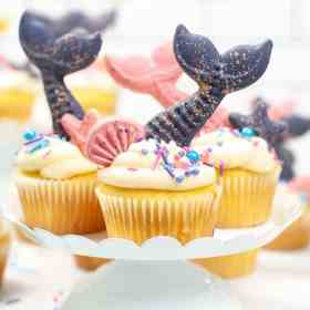 mermaid cupcakes on plate