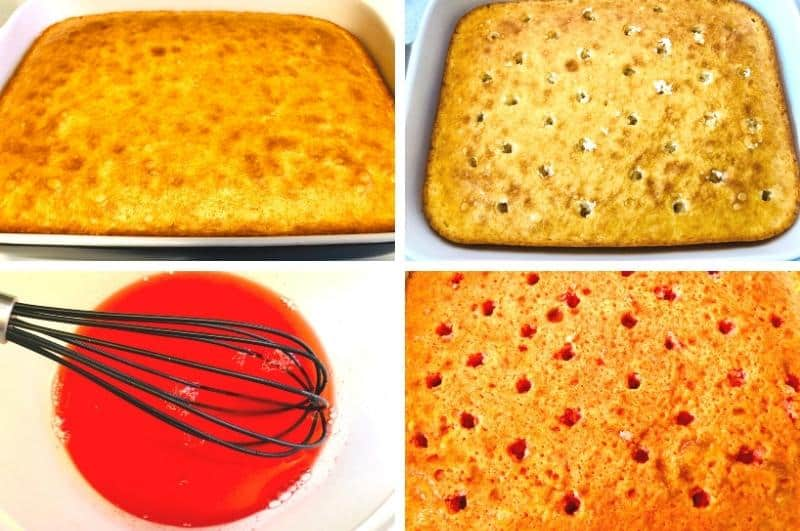 how to make strawberry poke cake process image collage