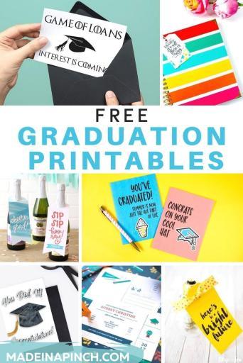 20 free graduation printables pin image