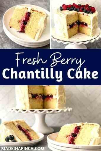 Fresh berry Chantilly cake pin image