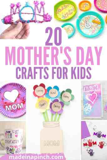 Mother's Day craft ideas kids can make pin image