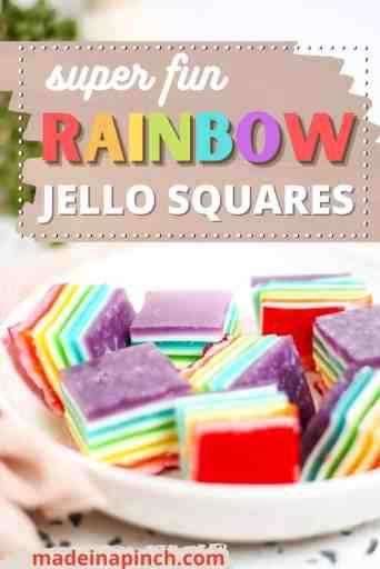 Rainbow jello squares pin image
