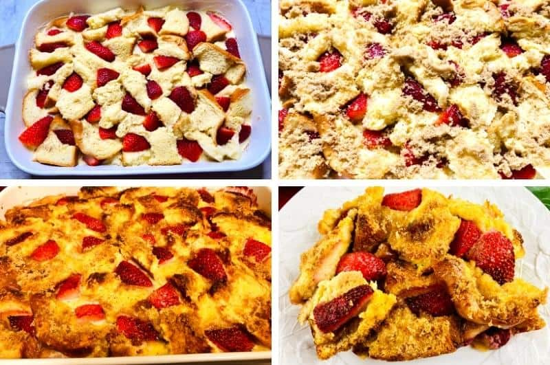 Strawberry french toast bake process collage