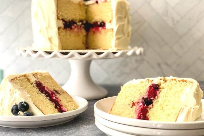 Slices of fresh berry chantilly cake