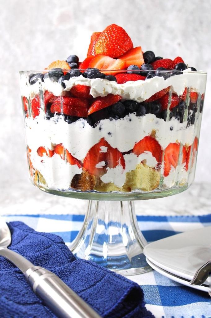 red, white, and blue trifle in a large bowl closeup