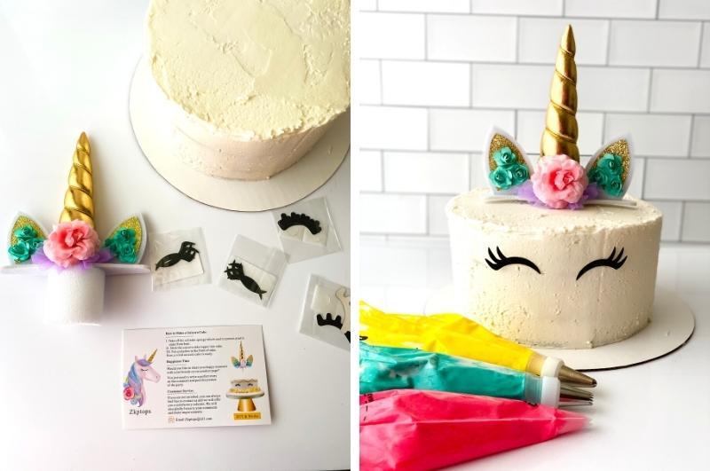 decorating the unicorn cake collage image