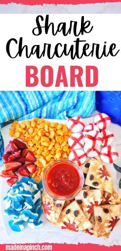 shark charcuterie board pin image